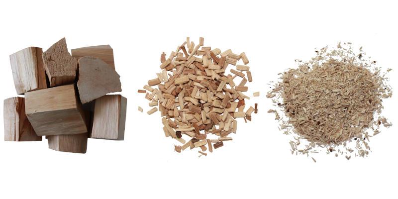 Räucherhölzer im Vergleich: Räucherchunks, Räucherchips und Räuchermehl